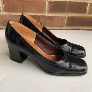 Vintage Connie black leather chunky heel pump
